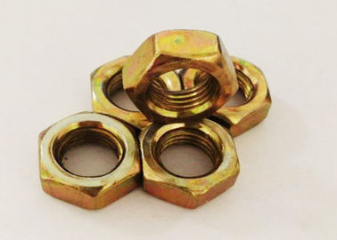 Yellow Zinc Plating M12 Hex Nut 1.25mm Pitch Fastening The Machine Parts